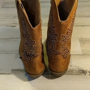 Justice Shoes - JUSTICE Tan Cowgirl Bling Boots Zipper Size 6